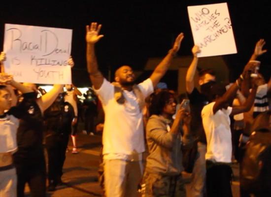 Protesters in Ferguson, MO